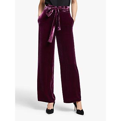 Boden Haverhill Velvet Trousers, Beetroot