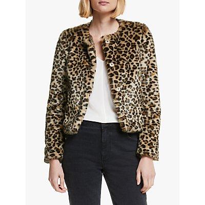 Boden Palmer Leopard Faux Fur Jacket, Brown