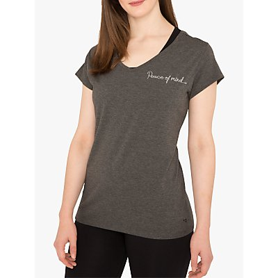M Life Peace of Mind Short Sleeve Yoga Top, Flint Melange