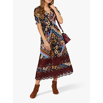 Monsoon Ruby Print Lace Insert Jersey Midi Dress, Berry