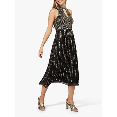 Monsoon Lisa Star Sequin Midi Dress, Black