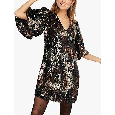 Monsoon Carmen Sequin Embellished Camo Dress, Black