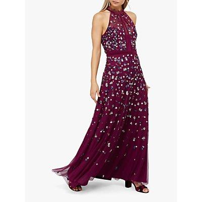 Monsoon Annie Halterneck Embellished Dress, Berry