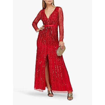 Monsoon Jessa Embellished Maxi Dress, Red