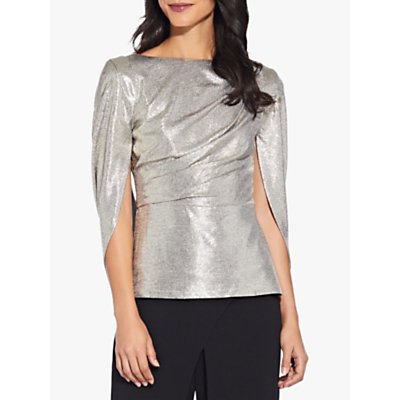 Adrianna Papell Cowl Cape Top, Light Gold