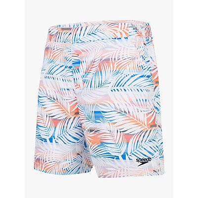 Speedo Vintage Paradise Print 16 Swim Shorts, Palm White/Mango