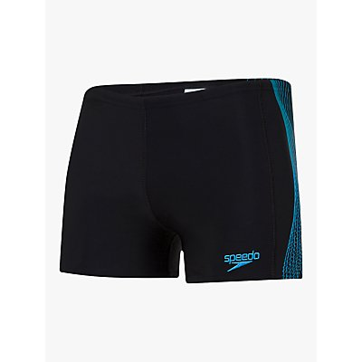Speedo Tech Panel Aquashort Swim Shorts, Black/Teal/Pool
