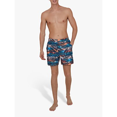 Speedo Vintage Paradise Print 16 Swim Shorts, Palm Tree Navy/Mango
