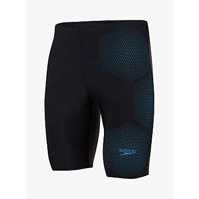 Speedo Tech Logo Jammer Swim Shorts, Black/Pool Blue