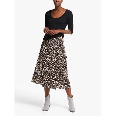 AND/OR Abstract Animal Print Midi Skirt, Natural