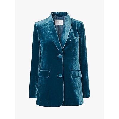 L.K.Bennett Gwendolen Velvet Jacket, Teal