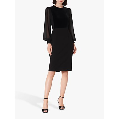 L.K.Bennett Aggie Velvet Crepe Dress, Black