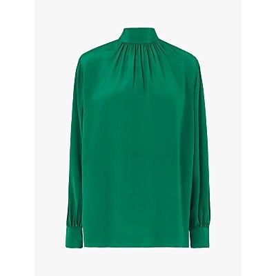 L.K.Bennett Dora High Neck Silk Blouse, Bottle Green