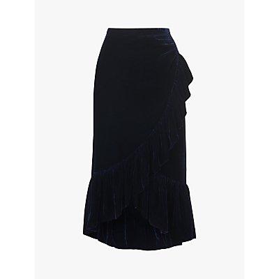 L.K.Bennett Freud Velvet Ruffle Skirt, Midnight