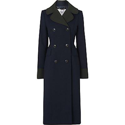 L.K.Bennett Penny Long Contrast Collar Coat, Midnight