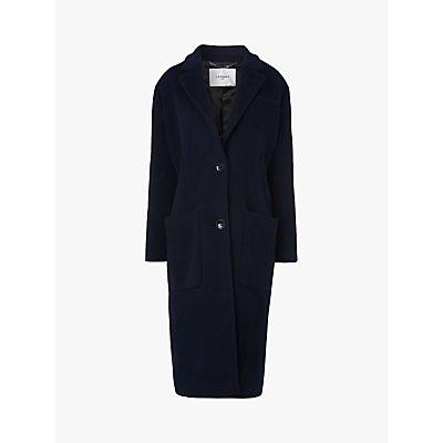 L.K.Bennett Finsbury Double Velour Single Breasted Coat, Midnight