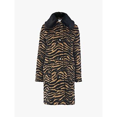 L.K.Bennett Aster Wool Blend Leopard Print Cocoon Coat, Brown