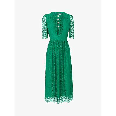 L.K.Bennett Mallory Lace Bow Tea Dress, Fern Green