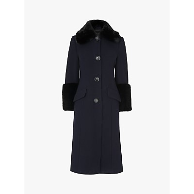 L.K.Bennett Franklin Wool Blend Faux Fur Coat, Navy