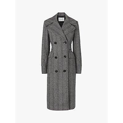 L.K.Bennett Aurelia Herringbone Trench Coat, Grey