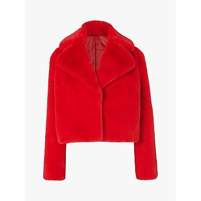 L.K.Bennett Ruby Faux Fur Short Coat, Red