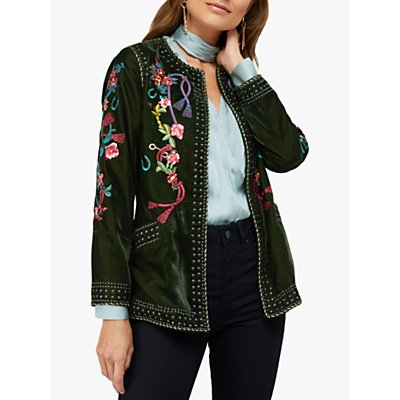 Monsoon Callie Floral Embroidered Velvet Stud Jacket, Olive