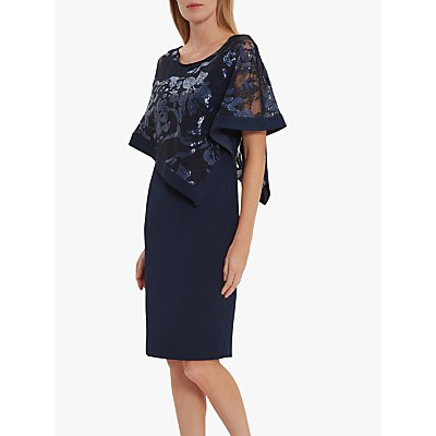 Gina Bacconi Evana Cape Dress, Spring Navy