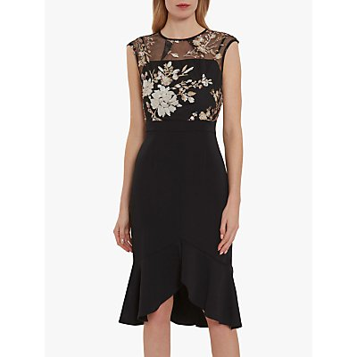 Gina Bacconi Eliora Crepe Dress, Black/Pearl