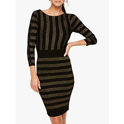 Damsel in a Dress Marga Shimmer Stripe Bodycon Dress, Black/Gold