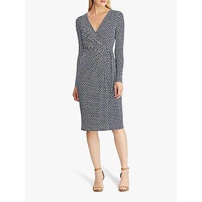 Lauren Ralph Lauren Casondra Geo Print Day Dress, Parisian Blue/Colonial Cream