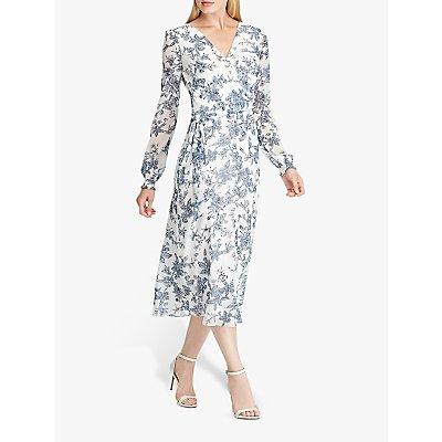 Lauren Ralph Lauren Holden Floral Print Dress, Colonial Cream/Blue