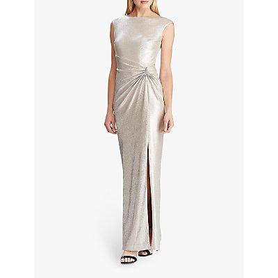 Lauren Ralph Lauren Ilianne Rhinestone Maxi Dress, Champagne/Silver