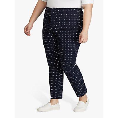 Lauren Ralph Lauren Curve Polka Dot Stretch Twill Trousers, Lauren Navy/Silk White