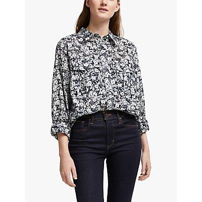 Lauren Ralph Lauren Curve Courtenay Floral Print Shirt, Lauren Navy/Cream