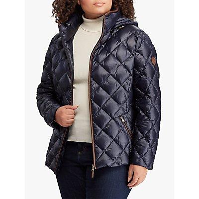 Lauren Ralph Lauren Curve Faux Leather Trim Quilted Jacket, Navy