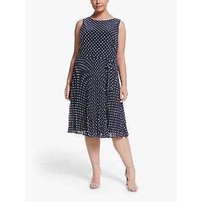 Lauren Ralph Lauren Curve Florin Spot Print Dress, Lighthouse Navy/Colonial Cream