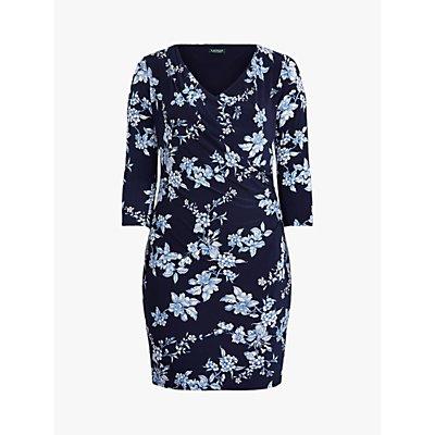 Lauren Ralph Lauren Curve Andee Floral Print Dress, Navy/French Blue