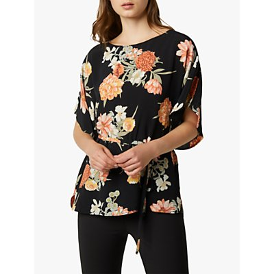 French Connection Floral Moss Short Sleeve Top, Black Multi