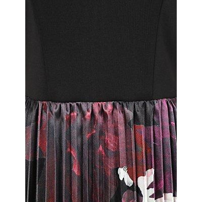 Chi Chi London Arden Bardot Pleated Floral Dress, Black/Multi