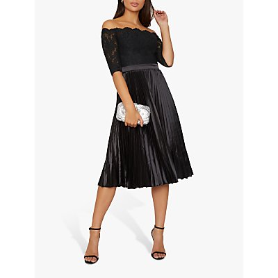 Chi Chi London Anna-Marie Floral Lace Knife Pleat Dress, Black