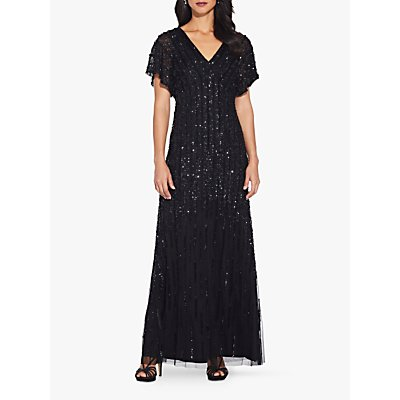 Adrianna Papell Flutter Beaded Dress, Black