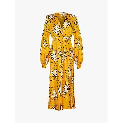 Ghost Lori Daisy Print Satin Maxi Dress, Yellow