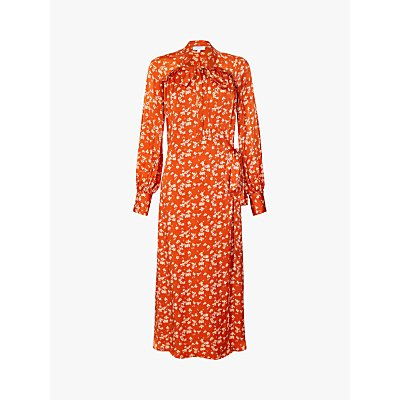 Ghost Lyn Ditsy Print Tie Neck Maxi Dress, Rowena Red