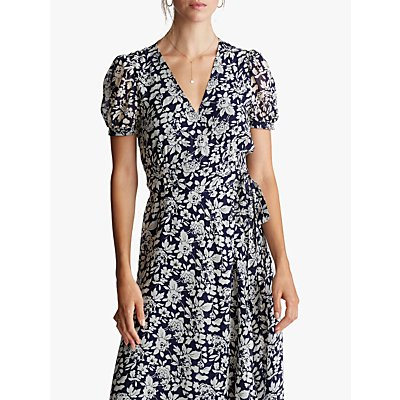 Polo Ralph Lauren Floral Print Wrap Dress, Navy
