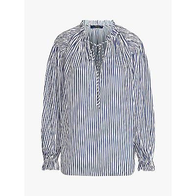 Polo Ralph Lauren Stripe Tie Neck Shirt, White/Blue