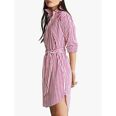 Polo Ralph Lauren Stripe Long Sleeve Shirt Dress, Pink/White