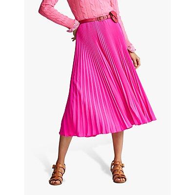 Polo Ralph Lauren Pleated Midi Skirt, Blaze Hot Magenta