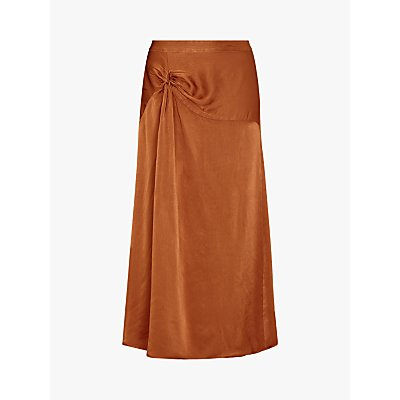 Ghost Adele Satin Twist Midi Skirt, Brown