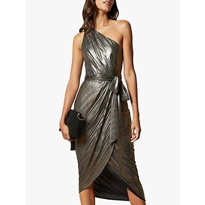 Ted Baker Gabria Asymmetric Draped Midi Dress, Gold