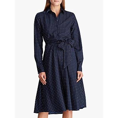 Lauren Ralph Lauren Polka Dot Shirt Dress, Lauren Navy/Silk White